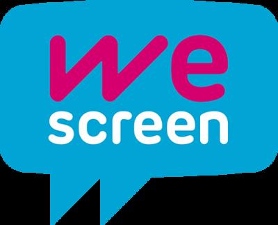 WeScreen Logotipo fondo azul